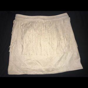 Nude fringe mini skirt